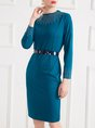 Beaded Solid Sheath Elegant Midi Dress