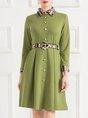 Paneled A-line Elegant Midi Dress