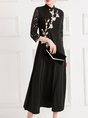 Printed Guipure Lace Paneled Elegant Midi Dress