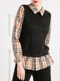 Paneled Checkered Sheath Casual Blouse
