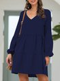 V Neck Daily Solid Casual Midi Dress