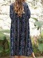 Royal Blue Print Long Sleeve Casual Dress