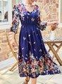 Blue Shift Holiday Casual Midi Dress