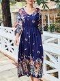 Floral V Neck Shift Holiday Midi Dress