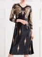 Printed Graphic V neck Elegant Midi Dress