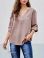 3/4 Sleeve Casual Zipper V Neck Top