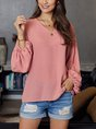 Pink Shift Balloon Sleeve Solid Top