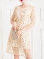 Solid Embroidered Elegant Midi Dress