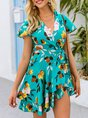 Green Printed Holiday Short Sleeve Mini Dress
