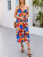 Blue Floral Spaghetti-Strap Holiday Maxi Dress