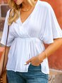 Summer White V Neck Casual Shift Top