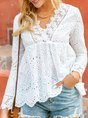 White Shift Long Sleeve Solid Casual Top