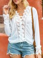 White Long Sleeve Casual Chiffon V Neck Top