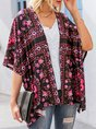 Black Floral Holiday Batwing Kimono