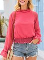 Pink Long Sleeve Casual Shift Solid Blouse