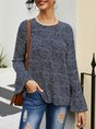 Black Floral Crew Neck Cotton Bell Sleeve Top