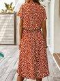 Holiday Short Sleeve Casual Midi Dress
