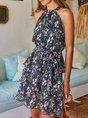 Choker Neck Printed Floral Holiday Mini Dress