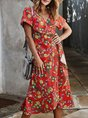 Surplice Neck Short Sleeve Boho Holiday Midi Dress