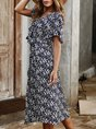 Holiday Short Sleeve Floral Casual Midi Dress
