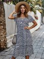 Floral Holiday Buttoned V Neck Dresses