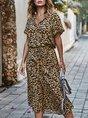 Leopard Print V Neck Cotton Boho Midi Dress