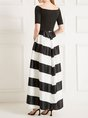 Stripes Color-Block Elegant Maxi Dress