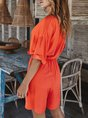 Summer Casual Half Sleeve Buttoned Romper
