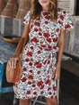 Floral Short Sleeve Shift Holiday Midi Dress