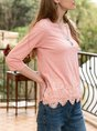 Orange Pink Crew Neck 3/4 Sleeve Plain Top