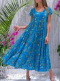 Casual Floral-Print Sleeveless Cotton-Blend Dress