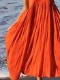 Orange Red Swing Spaghetti Cotton Holiday Dress