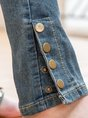 Solid Denim Solid Zipper Casual Jean