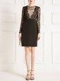 Guipure Lace Paneled Elegant Midi Dress