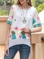 White Scoop Neckline A-Line Half Sleeve Tunic
