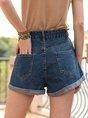 Denim Plain Buttoned Basic Shorts