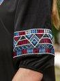 Tribal Notch Neckline Half Sleeve Vintage Midi Dress