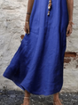 Crew Neck Solid Short Sleeve Casual Dress