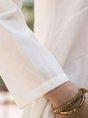 White 3/4 Sleeve V Neck Linen Top