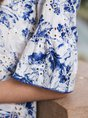 White-Blue Crew Neck Romantic Floral Top