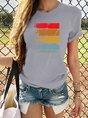Vintage Multicolor Graffiti Printed Plus Size Short Sleeve Casual Top