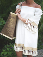 Solid Shor Sleeves Tassel Vacation Dress