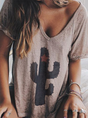 Women Summer V neck Loose T-Shirt