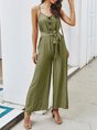 Spaghetti-Strap Casual Solid Holiday Jumpsuit