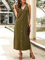 V Neck Daytime Casual Buttoned Maxi Dress