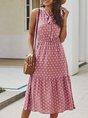 Polka Dots Sleeveless Holiday Midi Dress