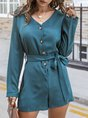 Solid V Neck Long Sleeve Shift Romper