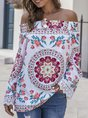 Horizontal Neck Shift Floral Holiday Top