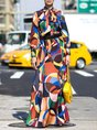 Geometric Printed Tie-Neck Elegant Maxi Dress