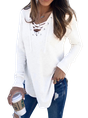 Solid V Neck Casual Top